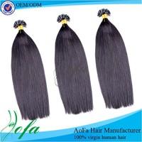AOFA glue keratin fusion Indian hair extensions indian U tip hair