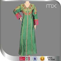 Latest Muslim Wedding Dress Beautiful Embroidery Women Abaya Fashion Dubai V-Neck Jilbab