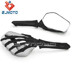 Universal Motorcycle Mirrors Black&Chrome Skull Bone Skeleton Hand Mirrors Rearview Side Mirrors For Motorcycle Cruiser Chopper