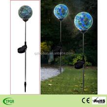 Mosaic paste glass metal plug-in globe solar stake for garden solar light