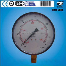 High quality 4'' 100mm plastic case pressure gauge exported to America 1.6 accuracy