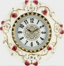 Flower Painting Antique Skeleton Wall Clock with Arabic numbers for Home Decor JHF15-8166A