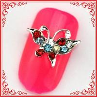 RH979 Kawaii Jewelry For Nails Beautiful Butterfly Design Beauty Rhinestone Nail Accessories
