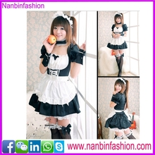 New arrival short sleeve white and black sexy maid costume