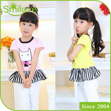 Made in China loose 100 cotton tshirt for hotsale 5 years little girl tops