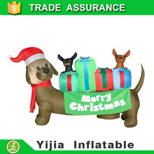 merry Christmas airblown sausage with giftbox inflatable santa dachshund