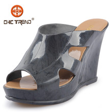 2015 fashion women Plastic shoes from china Ladies Sweet Style Jelly PVC hight wedge slipper Waterproof Wedge Jelly Sandal