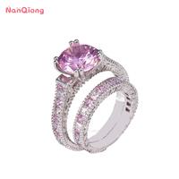 Fashion 925 Sterling Silver diamond engagement wedding ring
