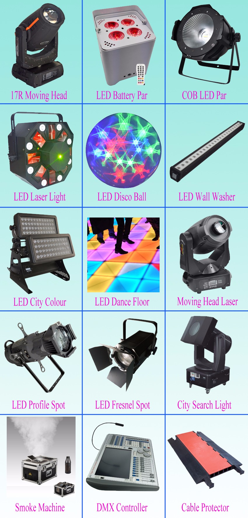 1 stage light moving head stage machine led par cable protector