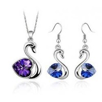 new arrival crystal swan necklace earrings sets women jewelries