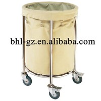 Multi purpose hospital cleaning cart Janitor round linen trolley Hotel Trolley Specific Use Laundry trolley maid carts
