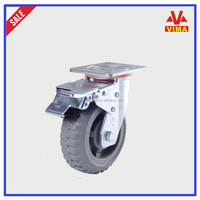 5-inch loading capacity 250kg Swivel Double Lock Polyurethane Plate Caster
