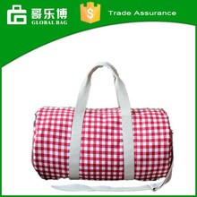 Fashion Customized Round Duffle Denim Grid Travel Bag