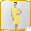 BIBIQ 2015 Yellow Short Ruffle Hem Dress Women Casual Dresses