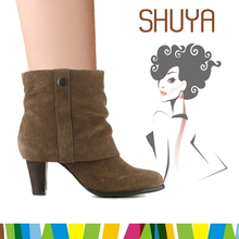 woman imitation suede leather mid high heels shoes snow boot