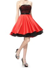 2014 New Arrival !Siduo Strapless Black and Red Short Party Dress/ cocktail dress