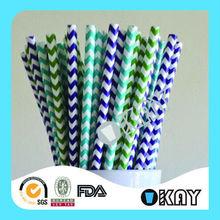 Hot Selling Popular Blue Chevron Paper Drinking Straws