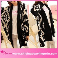 New Design Wholesale black Oversized Tribal Aztec Print Open Wrap Front Cardigan women elegant formal blouses