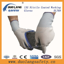 CE certificated new design good quality nylon liner fully coated foam nitrile gloves