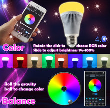 1.6 Million Colors Directly Smart Phone RGB+ CCT Adjustable 8W E27 Music Timming color saturation Bluetooth LED Bulb