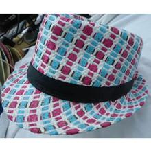 2015 new style laides kids fedora straw hat,handmade straw hat