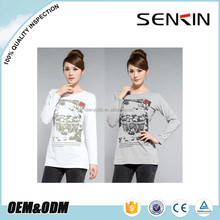 OEM Stretchable cotton Trendy Long sleeve T shirt for Women Discharge Printed T shirt