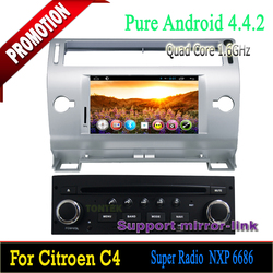 Hot selling Android 4.4.2 Quad Core 1 din car dvd player with Can-bus GPS navigation for Citroen C4 2004-2010
