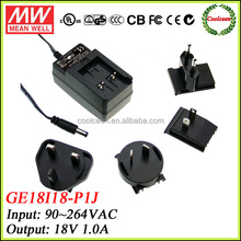 Meanwell GE18I18-P1J 18w power adapter 18v 1a