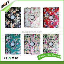 360 degree rotation flip leather stand case flower fdesign leather cover for ipad air 2