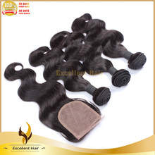 top quality double drawn cheap 3 wefts with 1 closure hair extension for sale