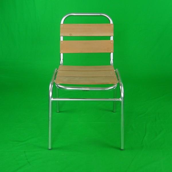 Outdoor Aluminum Wooden Armless Garden Chairs Yc055