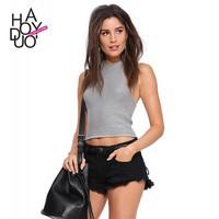 2015 High Waist Women Black Denim Shorts with Broken for Wholesale Haoduoyi