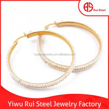 factory direct sale cheap fashion gold plated hoop stainless steel earrings
