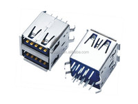 USB 3.0 A Type Receptacle R/A DIP Stack 18pin W/O Rear Shell