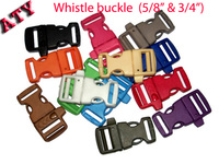 Curved whistle buckle plastic with side release style