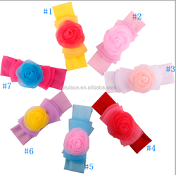 Cute solid rose elastic baby headband infant headband fabric flower hight quality baby headbands