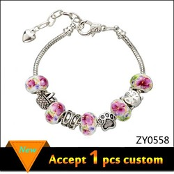 Cheap European Beads Charm Bracelet Jewelry, Custom Porcelain Beads Bracelet China Supplier