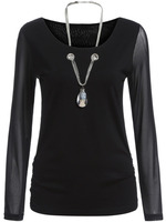Blouses Tops fashion women girl clothes Black Sheer Mesh Sleeve Necklace Embellished Top