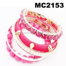 new design multi strand punk rivet trendy bracelet 2014