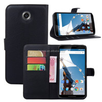 Flip PU Stand Leather Wallet case cover for Google Nexus 6 case