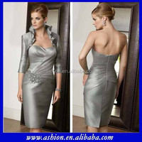 ME-074 Popular design silver gray tea length mother of the bride jacket dress