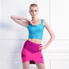 2015 New arrival ladies sexy tunic two piece crop top and skirt set