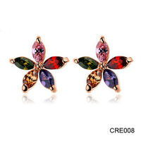 Duoying Real Gold Plating Exquisite and Elegant AAA+ Rainbow Zircon Ladies Earrings Designs Pictures