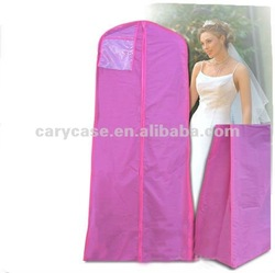 foldable rose red non woven wedding dress cover, gown bag with clear window