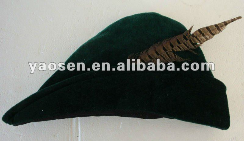 Kids Robin hood Peter Pan hat in dark green with feather decorations
