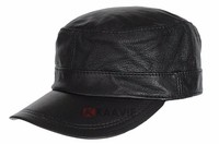 high quality leather flat top army military cap