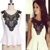Stylish New Fashion Lady Women's white Crew Neck Sleeveless formal evening blouses SV013255