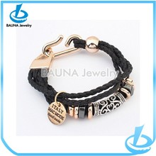 Fashion three wrap with alloy charms black onyx bracelet
