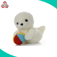 Hot selling super soft plush sea seal animal with colorful ball
