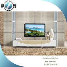 Beautiful small size home use wood TV stand in beige modern living room furniture